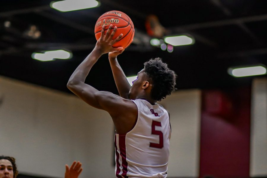 No. 5 Jordan Lewis (12) consistently shooting 2-pointers for George Ranch through the second quarter. Lewis contributed 10 points in total for the final score of the game.