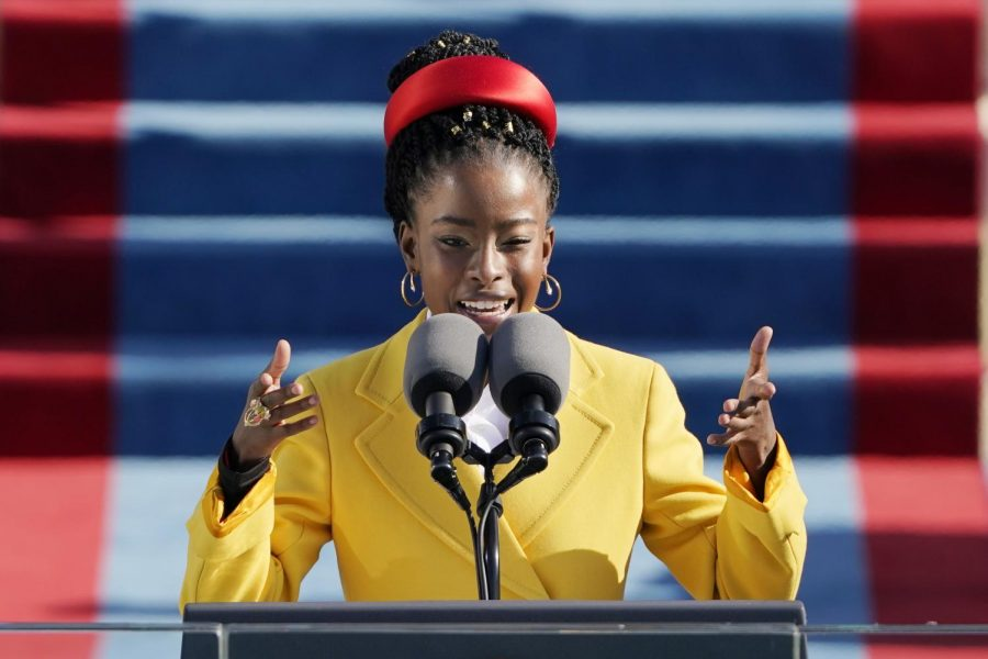 Amanda Gorman reads a poem during the 59th Presidential Inauguration at the US Capitol in Washington DC on January 20, 2021.