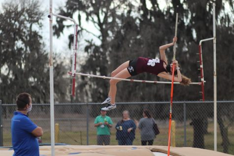 Chloe Moczygemba (9) made a clean jump right over the pole resulting on her moving on to the next height.