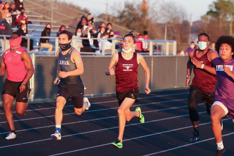 David Perez (10) shot out of the blocks for the 100m.