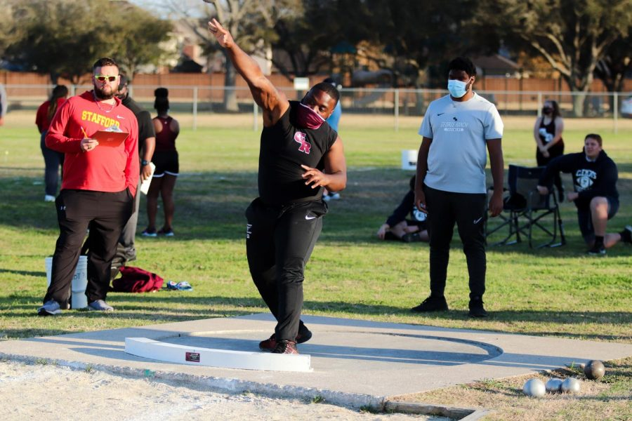 Jaiden Young (11) threw both discus and shot put in the Stafford relays.