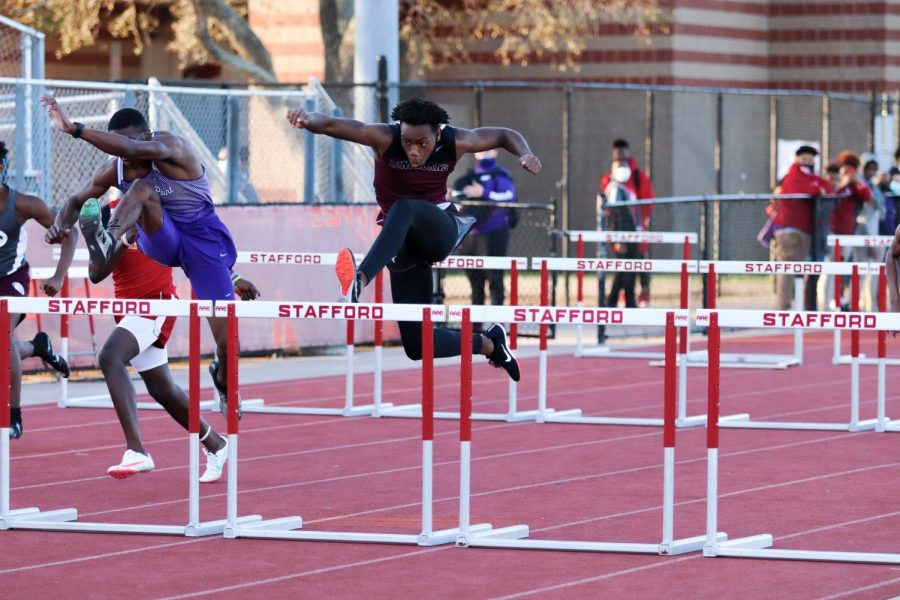 Alex Nwambuonwo (10) was confident in all of his jumps. He never once knocked over or skimmed a hurdle.