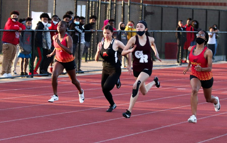 Jackie Alvarez (10) used all of her might as she ran the 100m.