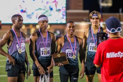 George Ranch 4x400M relay runs the top three times in the nation and wins the Region III Champ with a time of 3:14.94. Relay members are the following: Bryce McCray (12), Cameron Chretien (12), Grant Celestine (12), and Coy Cook (11).