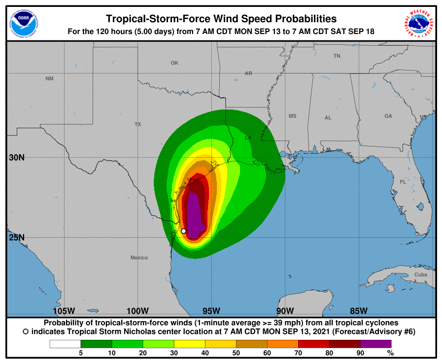 This graphic shows probabilities of tropical-storm-force winds coming from tropical Storm Nicholas.