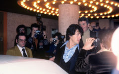 Sylvester Stallone exiting a movie theatre in 1978.
