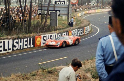 Ferrari 330 P3 racing at Le Mans 1966.