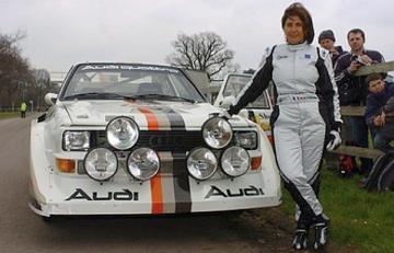 Michele Mouton next to her Audi Quattro.