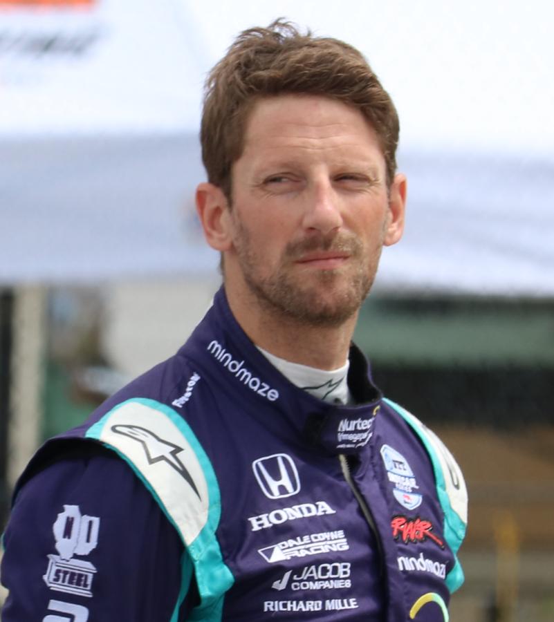 Romain Grosjean at Road Atlanta, wearing his Dale Coyne racing suit.